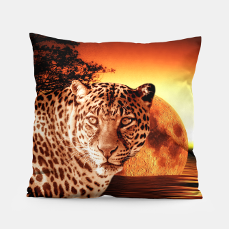 Thumbnail image of Leopard and Red Moon Pillow, Live Heroes