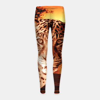 Thumbnail image of Leopard and Red Moon Girl's leggings, Live Heroes