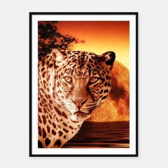 Thumbnail image of Leopard and Red Moon Framed poster, Live Heroes