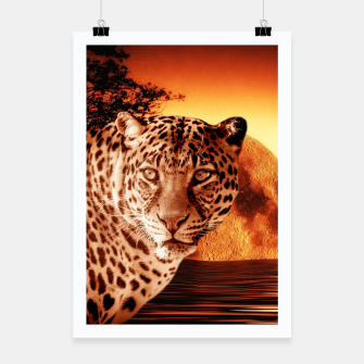 Thumbnail image of Leopard and Red Moon Poster, Live Heroes