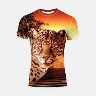 Thumbnail image of Leopard and Red Moon Shortsleeve rashguard, Live Heroes
