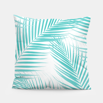 Thumbnail image of Soft Turquoise Palm Leaves Dream - Cali Summer Vibes #2 #tropical #decor #art  Kissen, Live Heroes