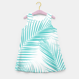 Thumbnail image of Soft Turquoise Palm Leaves Dream - Cali Summer Vibes #2 #tropical #decor #art  Mädchen-Sommerkleid, Live Heroes