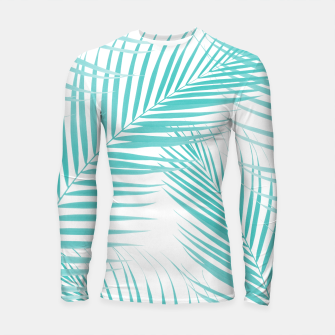 Thumbnail image of Soft Turquoise Palm Leaves Dream - Cali Summer Vibes #2 #tropical #decor #art  Longsleeve rashguard, Live Heroes