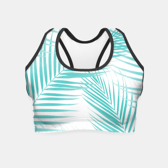 Thumbnail image of Soft Turquoise Palm Leaves Dream - Cali Summer Vibes #2 #tropical #decor #art  Crop Top, Live Heroes
