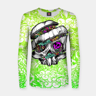 Thumbnail image of Sliced Skull with doodles Women sweater, Live Heroes