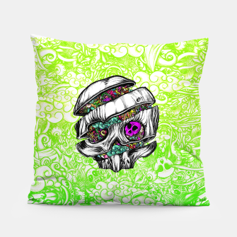Thumbnail image of Sliced Skull with doodles Pillow, Live Heroes