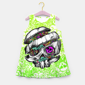 Thumbnail image of Sliced Skull with doodles Girl's summer dress, Live Heroes