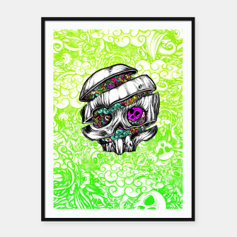 Thumbnail image of Sliced Skull with doodles Framed poster, Live Heroes