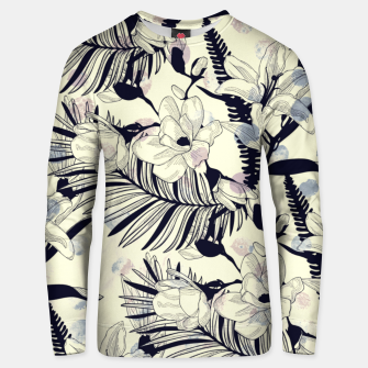 Thumbnail image of Navy Flowers on Watercolor Dots Unisex Sweater, Live Heroes