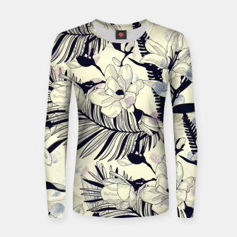 Thumbnail image of Navy Flowers on Watercolor Dots Women Sweater, Live Heroes