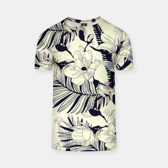Thumbnail image of Navy Flowers on Watercolor Dots T-shirt, Live Heroes