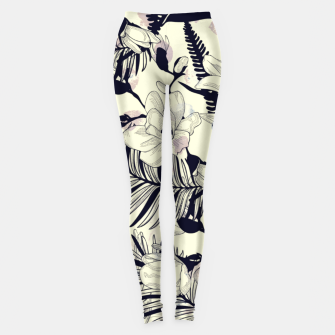 Thumbnail image of Navy Flowers on Watercolor Dots Leggings, Live Heroes