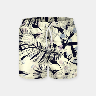 Miniatur Navy Flowers on Watercolor Dots Swim Shorts, Live Heroes