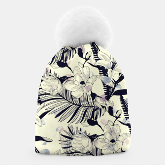 Thumbnail image of Navy Flowers on Watercolor Dots Beanie, Live Heroes
