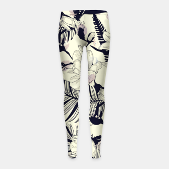 Thumbnail image of Navy Flowers on Watercolor Dots Girl's leggings, Live Heroes