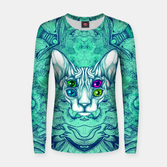 Thumbnail image of Blue Sphynx Eyes Women sweater, Live Heroes