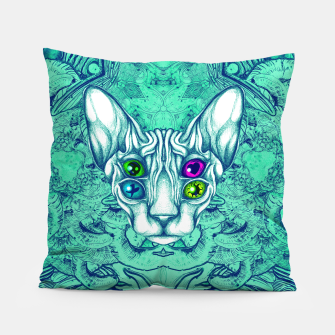 Thumbnail image of Blue Sphynx Eyes Pillow, Live Heroes