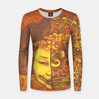 Thumbnail image of Split Head Geisha Doodle Flat Women sweater, Live Heroes
