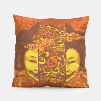 Thumbnail image of Split Head Geisha Doodle Flat Pillow, Live Heroes