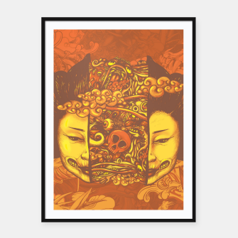 Thumbnail image of Split Head Geisha Doodle Flat Framed poster, Live Heroes