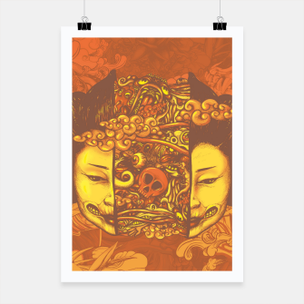 Thumbnail image of Split Head Geisha Doodle Flat Poster, Live Heroes