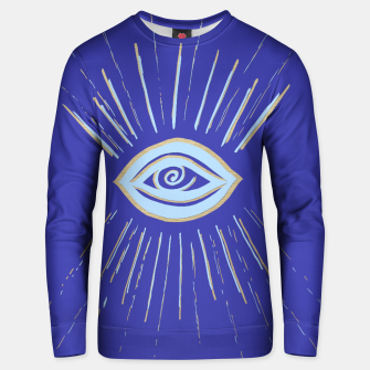 Thumbnail image of Evil Eye Soft Blue Gold on Blue #1 #drawing #decor #art  Unisex sweatshirt, Live Heroes