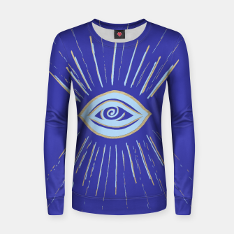Thumbnail image of Evil Eye Soft Blue Gold on Blue #1 #drawing #decor #art  Frauen sweatshirt, Live Heroes