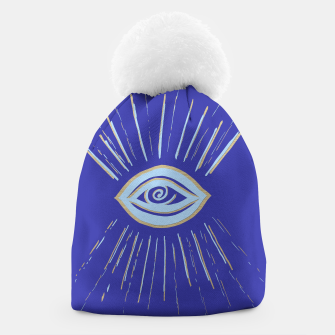 Thumbnail image of Evil Eye Soft Blue Gold on Blue #1 #drawing #decor #art  Mütze, Live Heroes