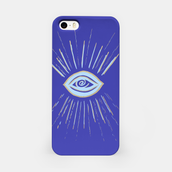 Thumbnail image of Evil Eye Soft Blue Gold on Blue #1 #drawing #decor #art  iPhone-Hülle, Live Heroes