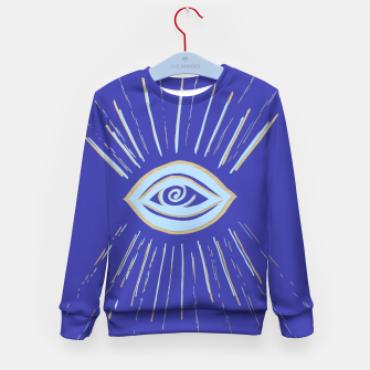 Thumbnail image of Evil Eye Soft Blue Gold on Blue #1 #drawing #decor #art  Kindersweatshirt, Live Heroes