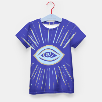 Thumbnail image of Evil Eye Soft Blue Gold on Blue #1 #drawing #decor #art  T-Shirt für kinder, Live Heroes