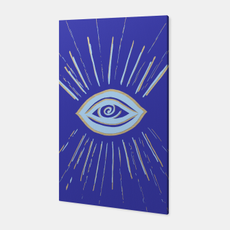 Thumbnail image of Evil Eye Soft Blue Gold on Blue #1 #drawing #decor #art  Canvas, Live Heroes