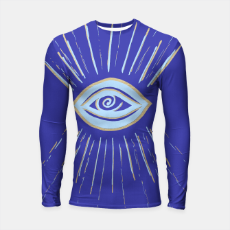 Thumbnail image of Evil Eye Soft Blue Gold on Blue #1 #drawing #decor #art  Longsleeve rashguard, Live Heroes