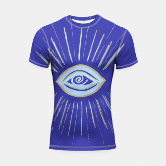 Thumbnail image of Evil Eye Soft Blue Gold on Blue #1 #drawing #decor #art  Shortsleeve rashguard, Live Heroes