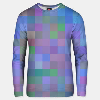 Thumbnail image of geometric square pixel pattern abstract in purple blue pink Unisex sweater, Live Heroes
