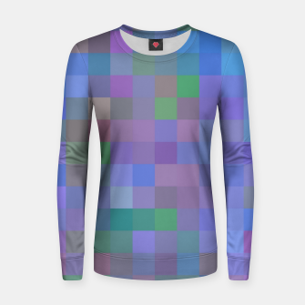 Thumbnail image of geometric square pixel pattern abstract in purple blue pink Women sweater, Live Heroes