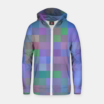 Thumbnail image of geometric square pixel pattern abstract in purple blue pink Zip up hoodie, Live Heroes