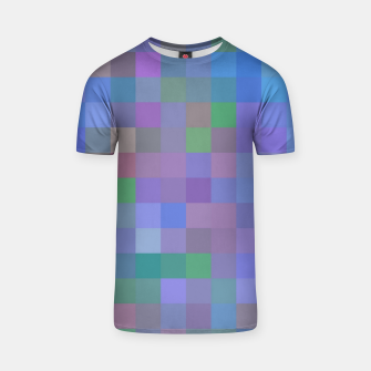Thumbnail image of geometric square pixel pattern abstract in purple blue pink T-shirt, Live Heroes