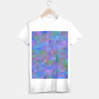 Thumbnail image of geometric square pixel pattern abstract in purple blue pink T-shirt regular, Live Heroes