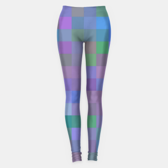 Thumbnail image of geometric square pixel pattern abstract in purple blue pink Leggings, Live Heroes