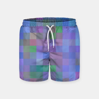 Thumbnail image of geometric square pixel pattern abstract in purple blue pink Swim Shorts, Live Heroes