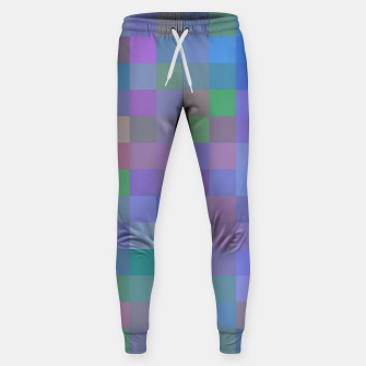 Thumbnail image of geometric square pixel pattern abstract in purple blue pink Sweatpants, Live Heroes