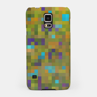 Miniaturka geometric square pixel pattern abstract in green yellow blue purple Samsung Case, Live Heroes