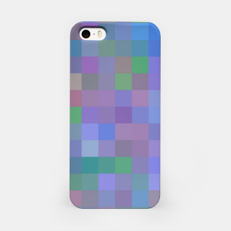 Thumbnail image of geometric square pixel pattern abstract in purple blue pink iPhone Case, Live Heroes