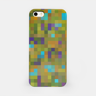 Miniaturka geometric square pixel pattern abstract in green yellow blue purple iPhone Case, Live Heroes