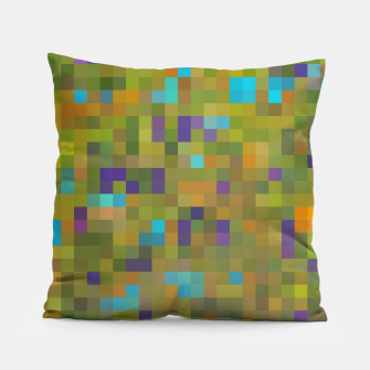Thumbnail image of geometric square pixel pattern abstract in green yellow blue purple Pillow, Live Heroes