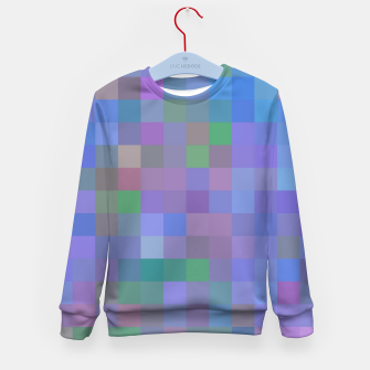 Thumbnail image of geometric square pixel pattern abstract in purple blue pink Kid's sweater, Live Heroes