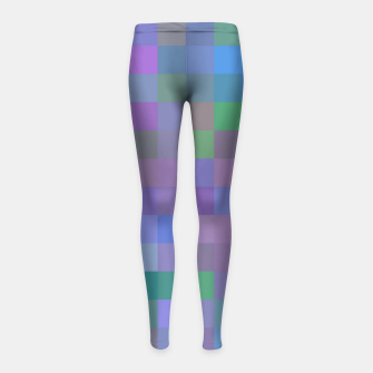 Thumbnail image of geometric square pixel pattern abstract in purple blue pink Girl's leggings, Live Heroes