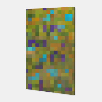 Miniaturka geometric square pixel pattern abstract in green yellow blue purple Canvas, Live Heroes